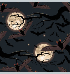Seamless halloween pattern with flying bat vector