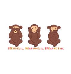 See no evil hear no evil speak no evil inscription vector