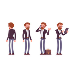 Set of male manager in standing poses rear front vector