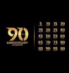 set premium anniversary logotype golden vector image
