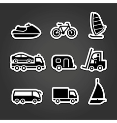 Set simple stickers transport vector