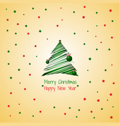 silhouette a stroke christmas tree green color vector image
