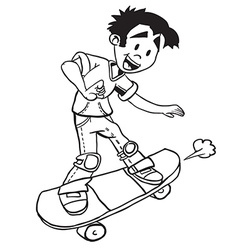 simple black and white boy on skate vector image