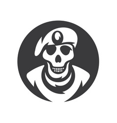 Skull soldier silhouette sign vector