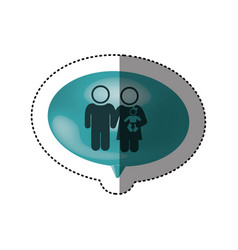 sticker of oval speech with pictogram of couple vector image vector image