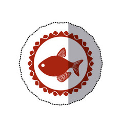 sticker red circular border stamp with fish vector image