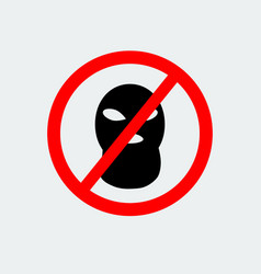 Stop terrorism with sign balaclava mask icon vector