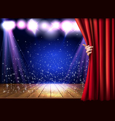 theater stage with a red curtain and hand vector image