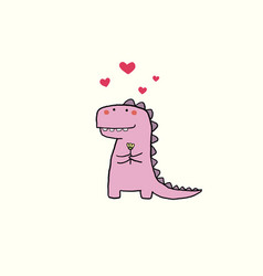 valentines day card with cartoon dinosaur vector image