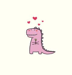 Valentines day card with cartoon dinosaur vector