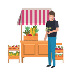 Vegetable seller man with kiosk isolated icon vector