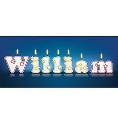 WILLIAM written with burning candles vector