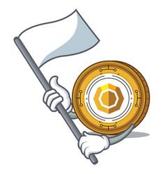 With flag komodo coin mascot cartoon vector