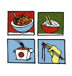 wok poster design set vector image
