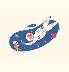 woman and dog in space vector image