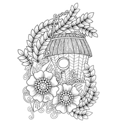 Wood nesting box pattern for coloring book vector
