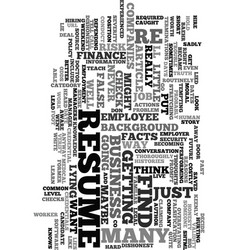 Would you lie on your resume text word cloud vector