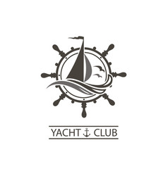 Yacht helm and waves icon vector
