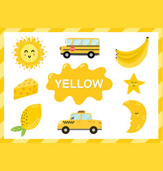 Yellow educational worksheet for kids learning vector