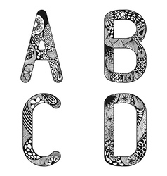 Zentangle stylized alphabet Lace letters from A to vector image