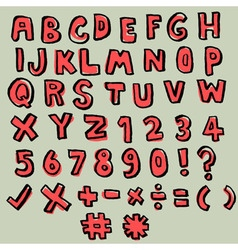 hand drawn doodle font vector image