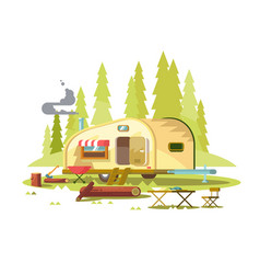 trailer for travel in forest vector image
