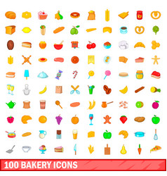 100 bakery icons set cartoon style vector image vector image