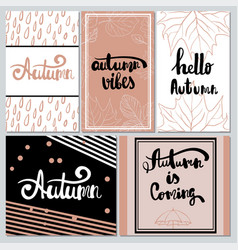 Collection of autumn typography for flyer vector