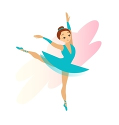 Cute Cyan Ballerina Girl Isolated on White vector image