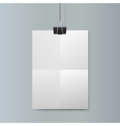 Empty vertical white paper poster mockup vector image