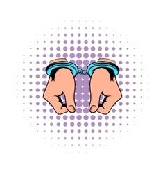 Hands in handcuffs icon comics vector