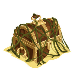 old treasure chest in sand and seaweed vector image