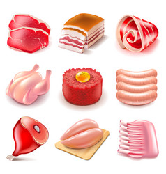 raw meat icons set vector image