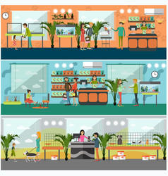 set of pet shop concept posters in flat vector image vector image