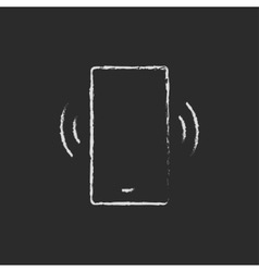 Vibrating phone icon drawn in chalk vector
