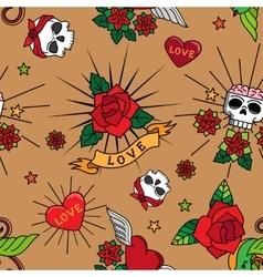 Vintage cute tattoo seamless pattern vector image
