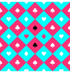 Card suits blue pink chess board diamond vector