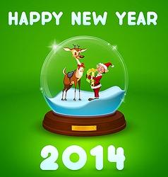 christmas elf and christmas deer inside ball vector image