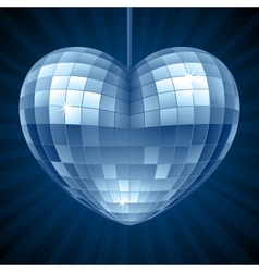 Disco Heart Blue mirror disco ball vector image