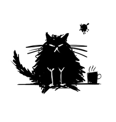 Funny cat black silhouette Sketch for your design vector image