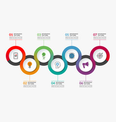 infographic timeline template of 7 circles vector image