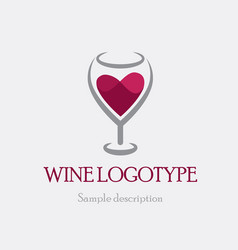 logo glass of red wine on a vector image