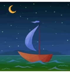 Ship Floats in Night Sea vector image vector image