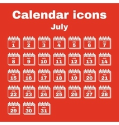 The calendar icon July symbol Flat vector image vector image