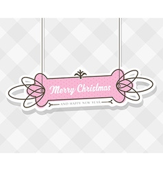 Vintage Christmas background with hanging sign and vector image vector image