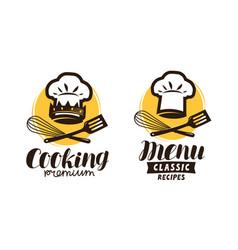 cooking cuisine logo label for restaurant or vector image