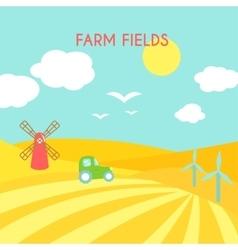 Farm fields landscape Cartoon green field of vector image
