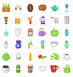 fruit and drink icons set cartoon style vector image