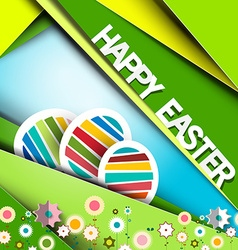 Happy Easter Green Retro Paper Card with Eggs and vector image vector image