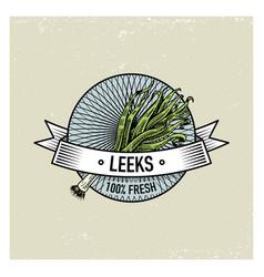 leeks vintage set of labels emblems or logo for vector image vector image